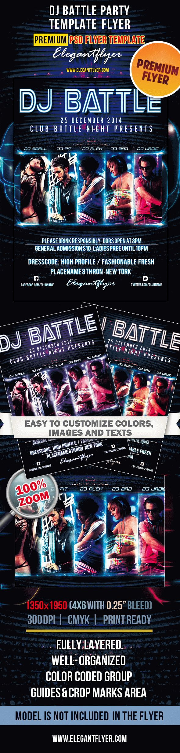 Dj battle party premium club flyer psd template by elegantflyer dj battle party premium club flyer psd template saigontimesfo