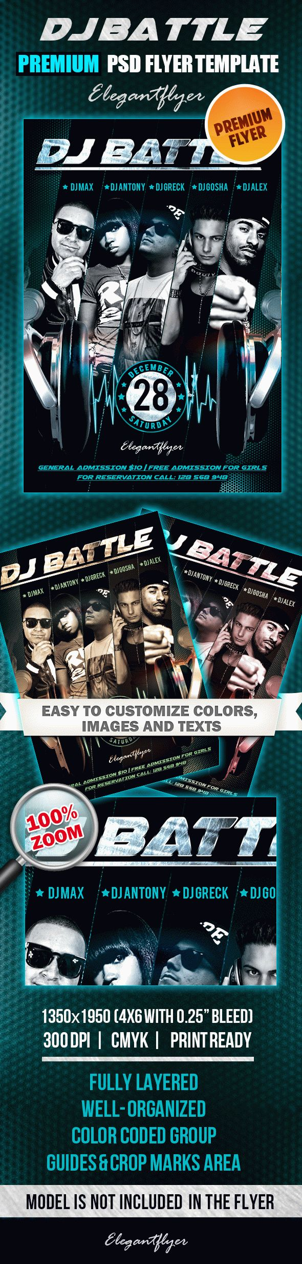 Dj Battle – Premium Club flyer PSD Template