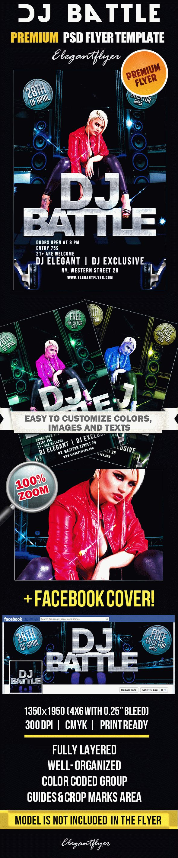 Dj Battle – PSD Flyer Templates + Facebook Cover