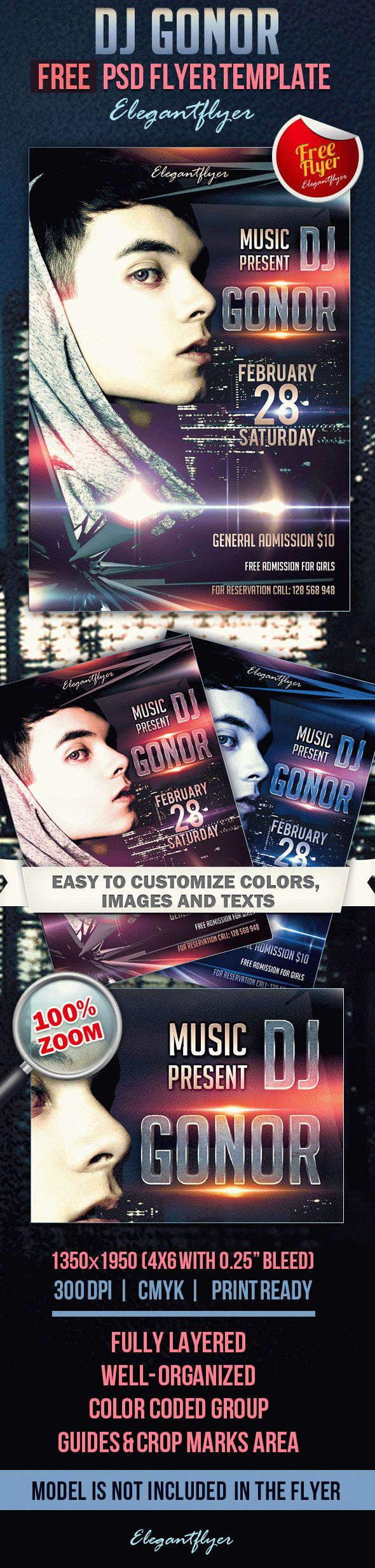 DJ GONOR – Club and Party Free Flyer PSD Template
