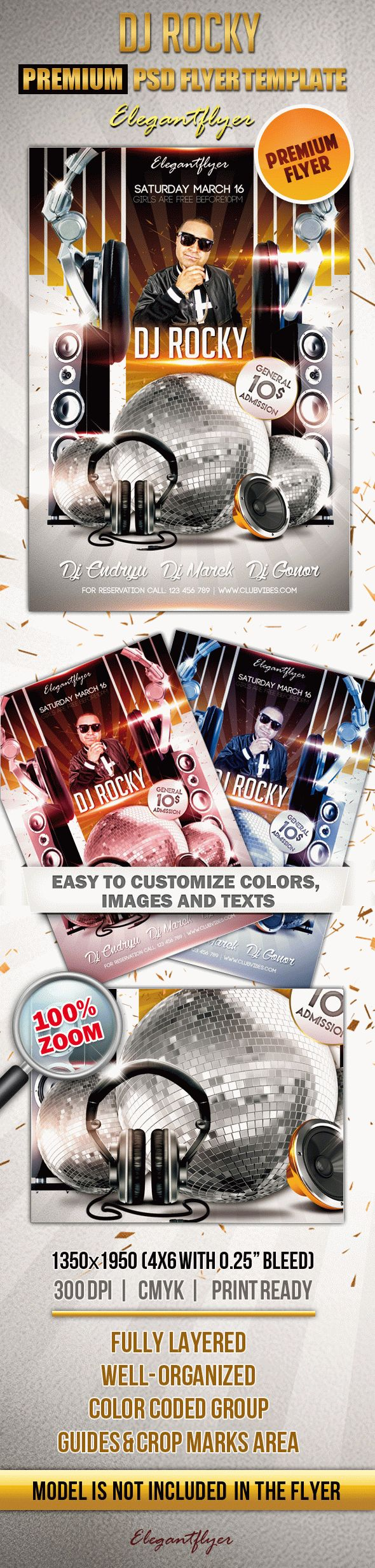 DJ Rocky – Premium Club flyer PSD Template