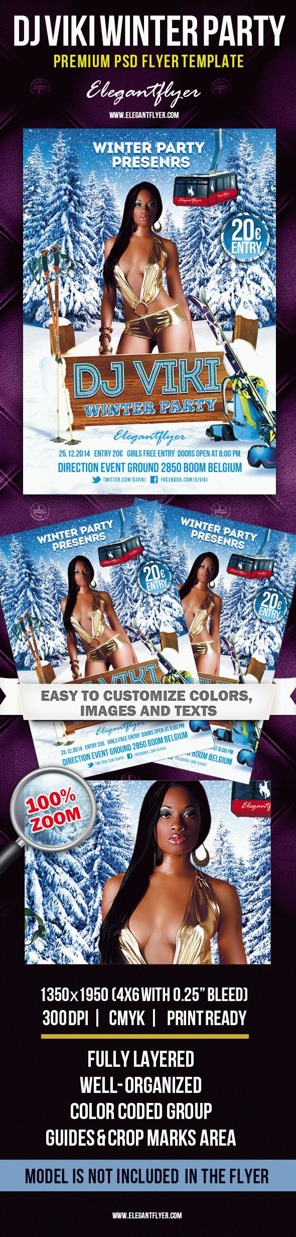 Dj Viki Winter Party Poster Template