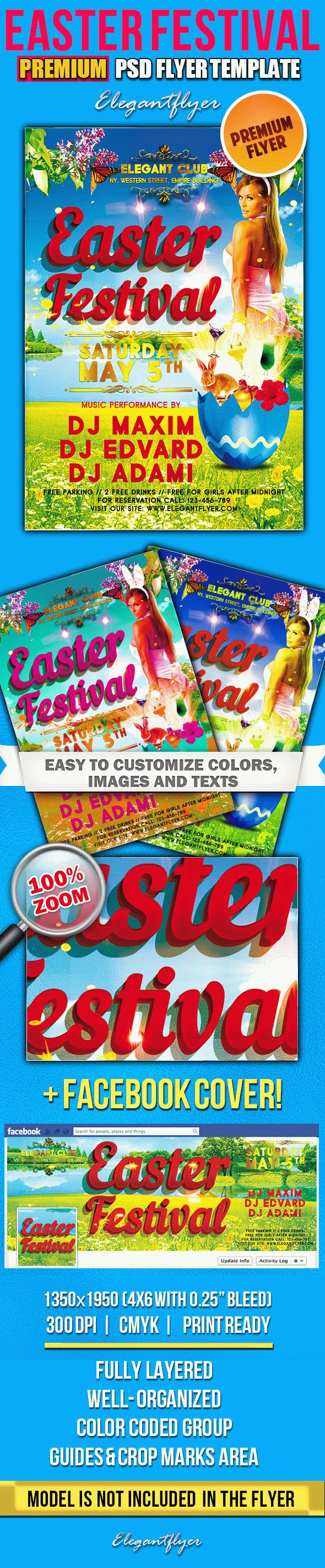 Easter Festival – PSD Flyer Templates + Facebook Cover