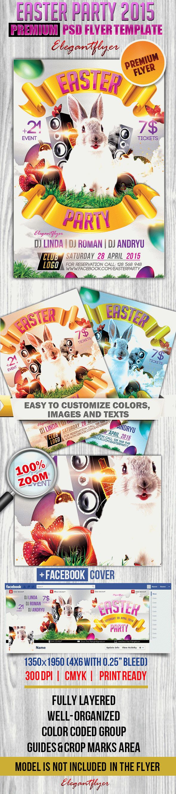 Easter party 2015 – Flyer PSD Template + Facebook Cover