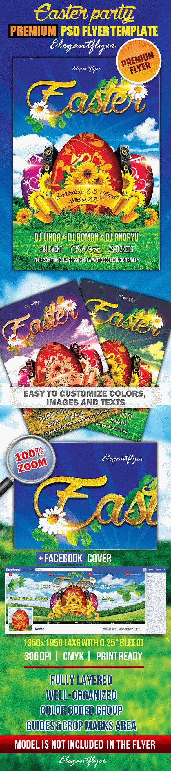 Easter party 2 – Flyer PSD Template + Facebook Cover