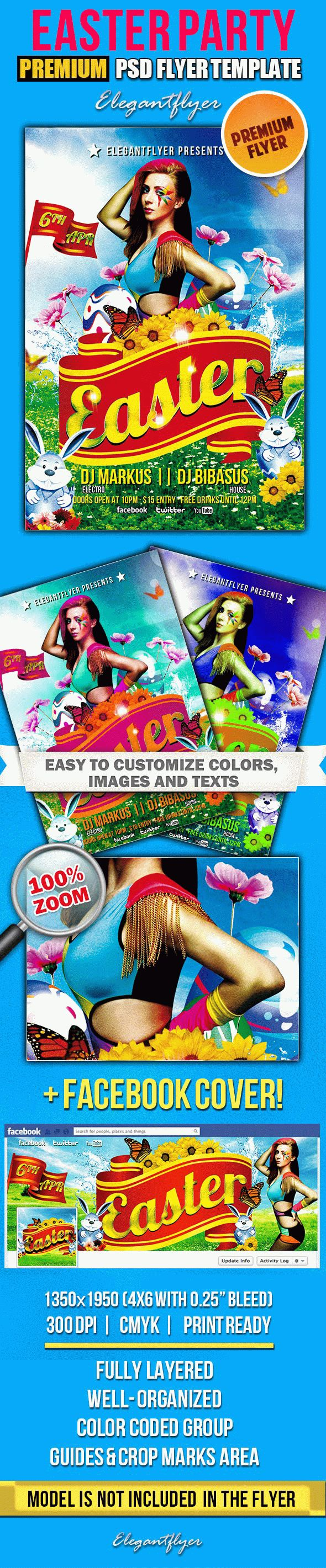 Easter Party – PSD Flyer Templates + Facebook Cover