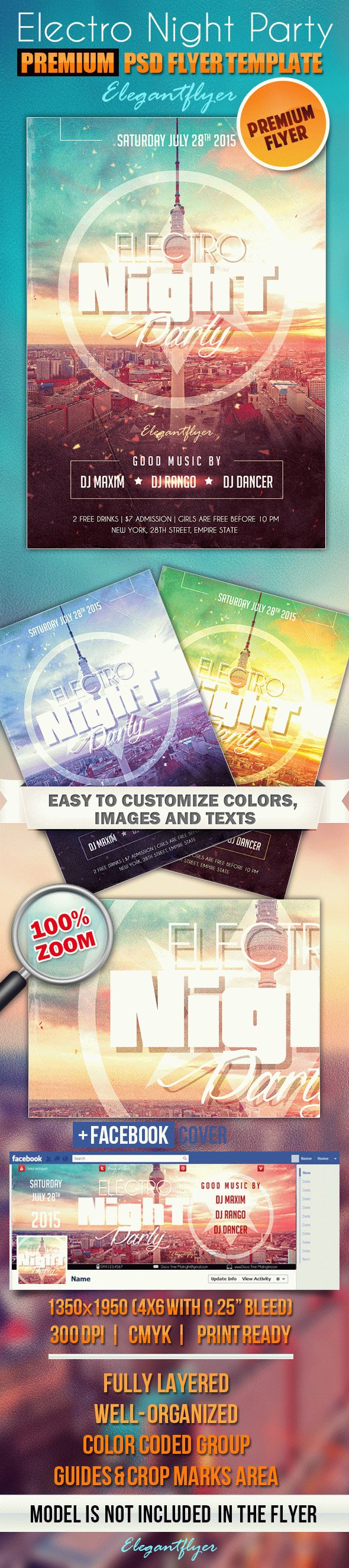 Electro Night Party 2 – PSD Flyer Templates + Facebook Cover