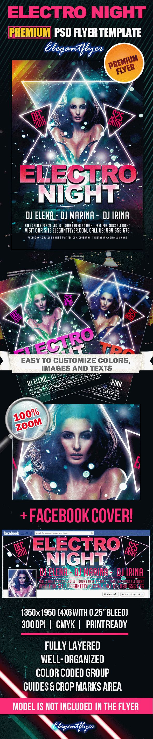 Electro Night – Premium Club flyer PSD Template + Facebook Cover