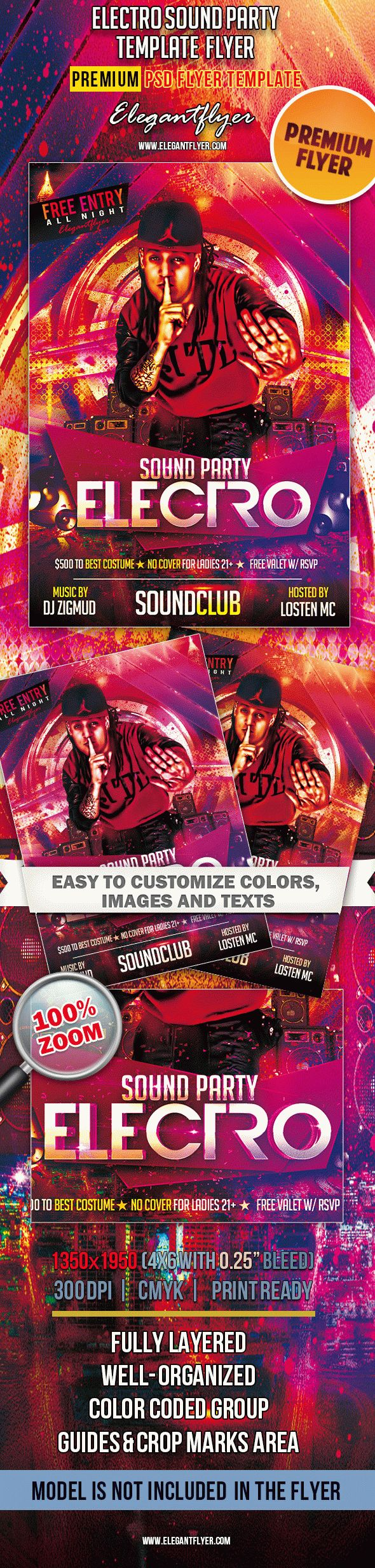 Electro Sound Party – Premium Club flyer PSD Template