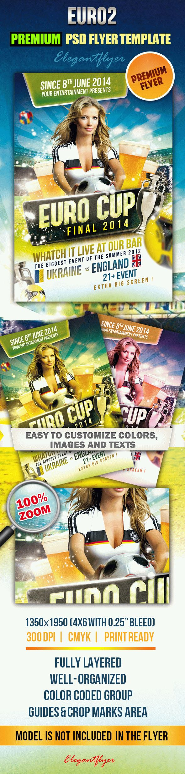 EURO CUP – Premium Club flyer PSD Template