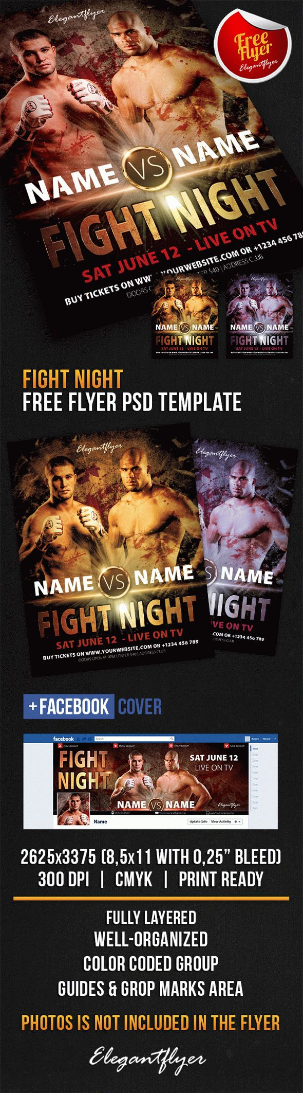 Fight Night – Free Flyer PSD Template + Facebook Cover