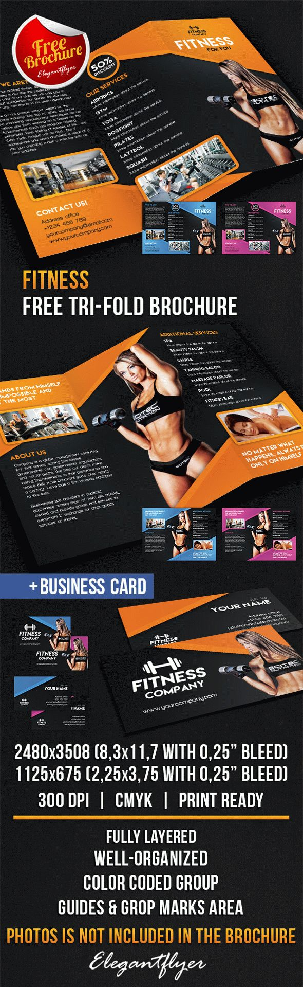 Fitness tri fold brochure free psd template by for Fitness brochure design