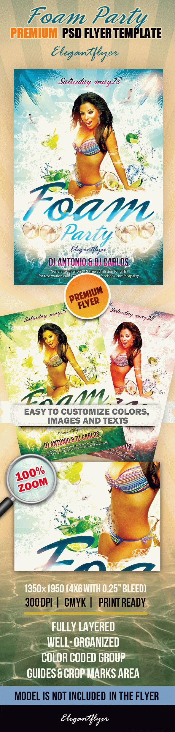 Foam Party – Premium Club flyer PSD Template
