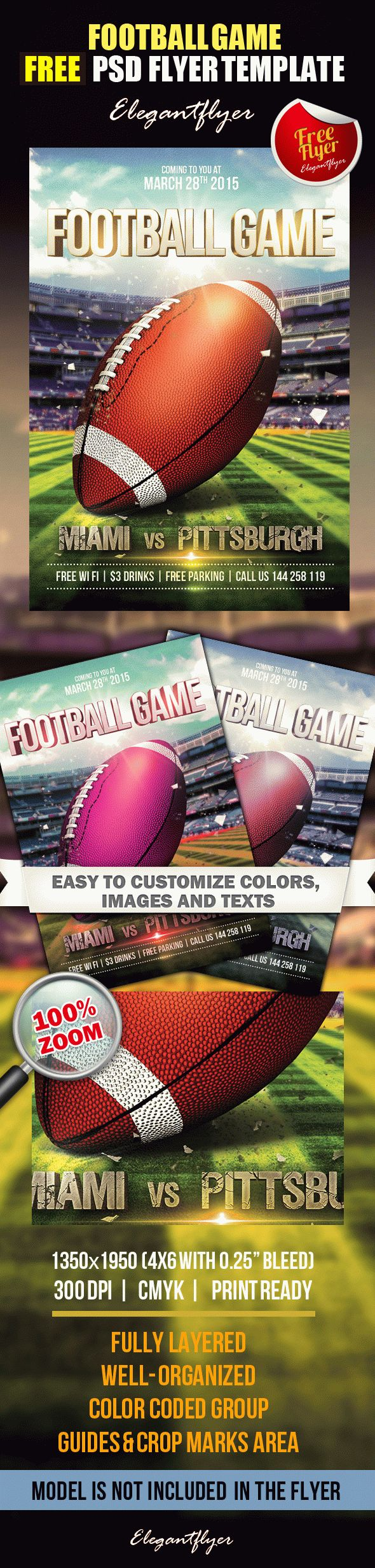 football game free flyer psd template by elegantflyer. Black Bedroom Furniture Sets. Home Design Ideas