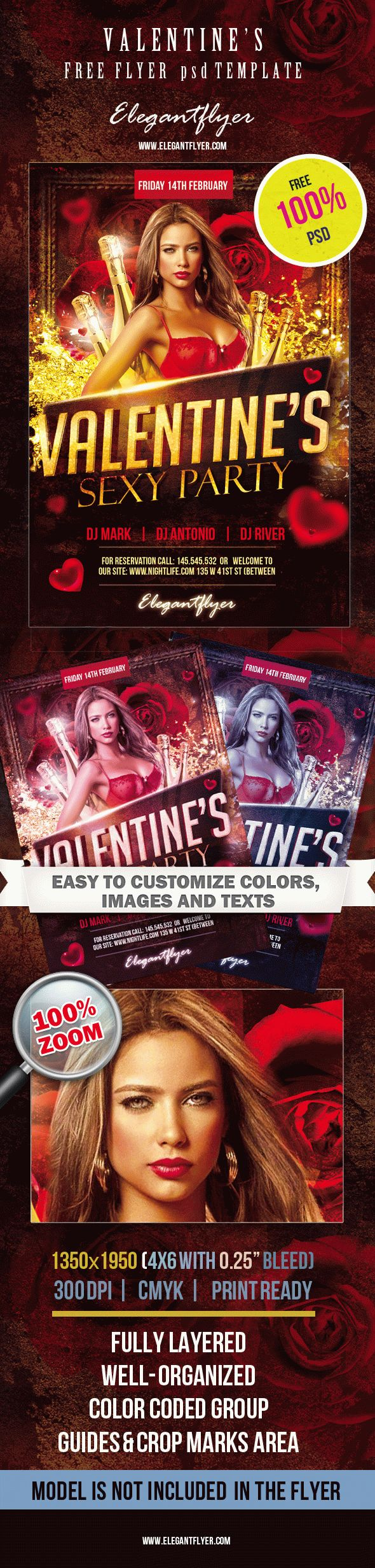 Free Flyer PSD Template – Valentine's sexy party