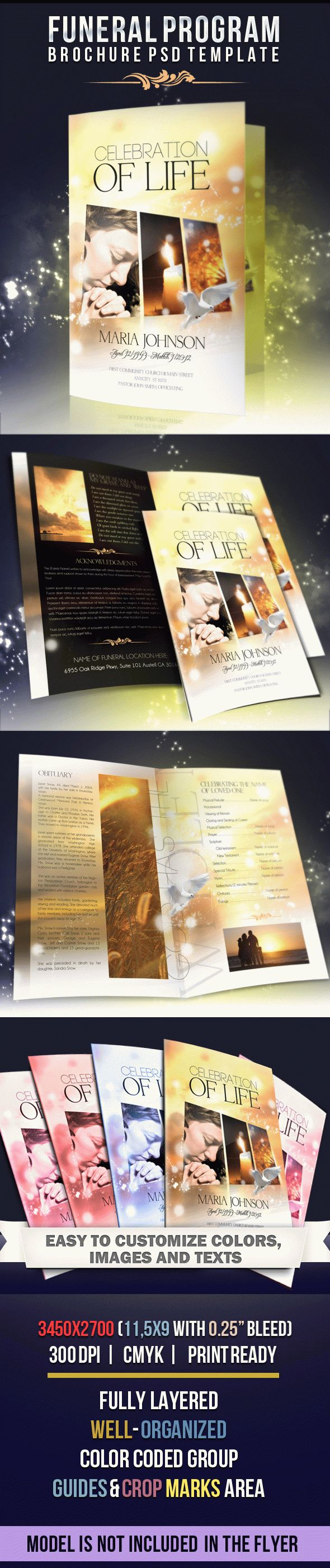 Celebration of life free funeral program brochure in psd for Program brochure templates