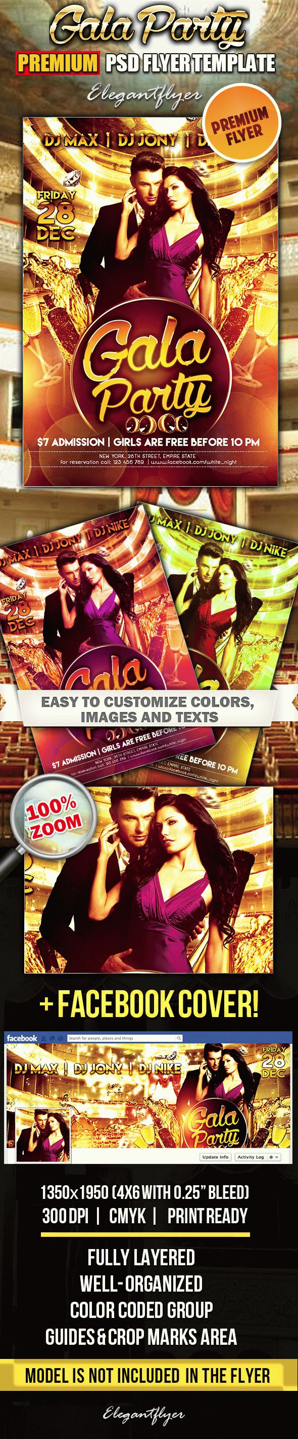 Gala Party – Flyer PSD Template + Facebook Cover