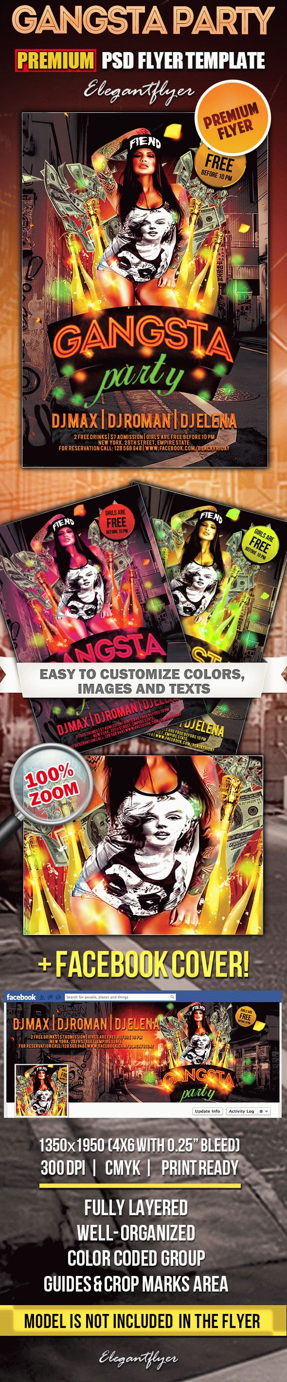 Gangsta Party – Flyer PSD Template + Facebook Cover