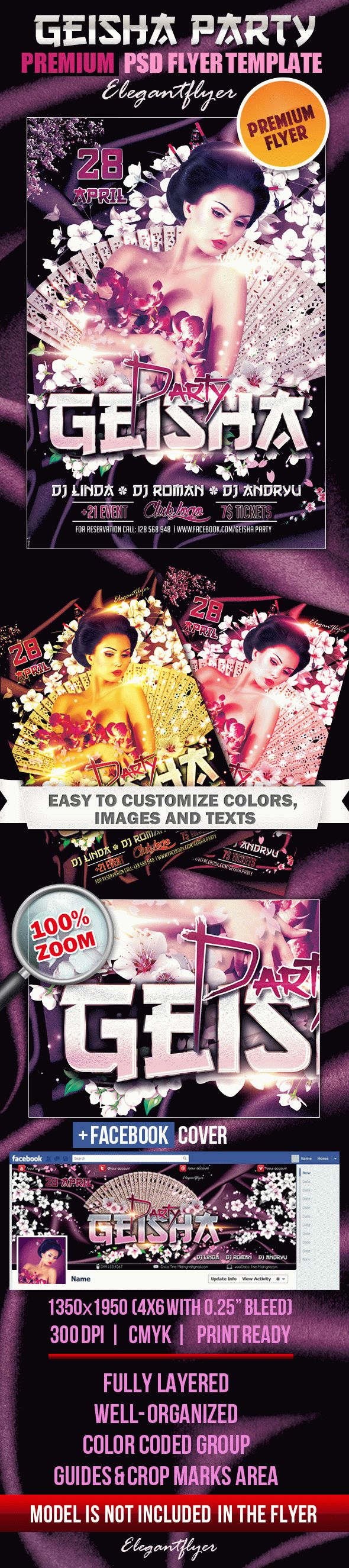 Geisha Party – Flyer PSD Template + Facebook Cover