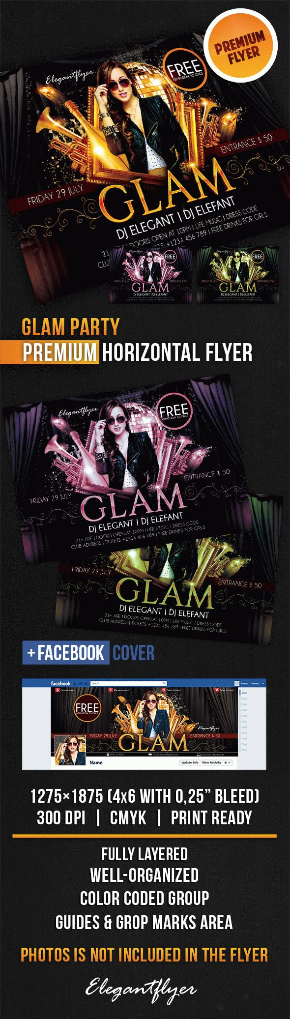 Glam Party – Horizontal Flyer PSD Template