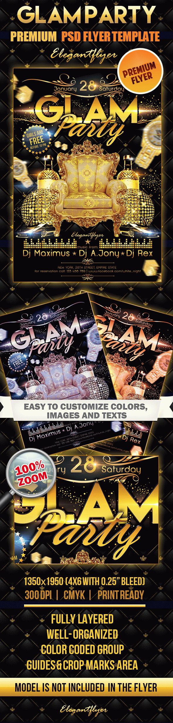 Glam Party – Premium Club flyer PSD Template