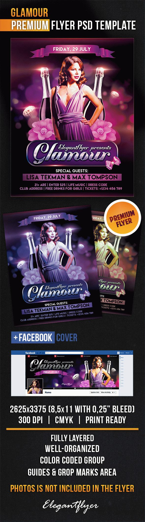 Glamour – Flyer PSD Template + Facebook Cover