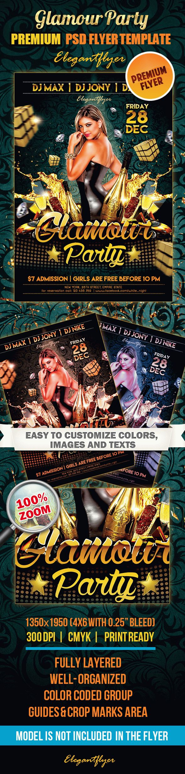 Glamour Party – Premium Club flyer PSD Template