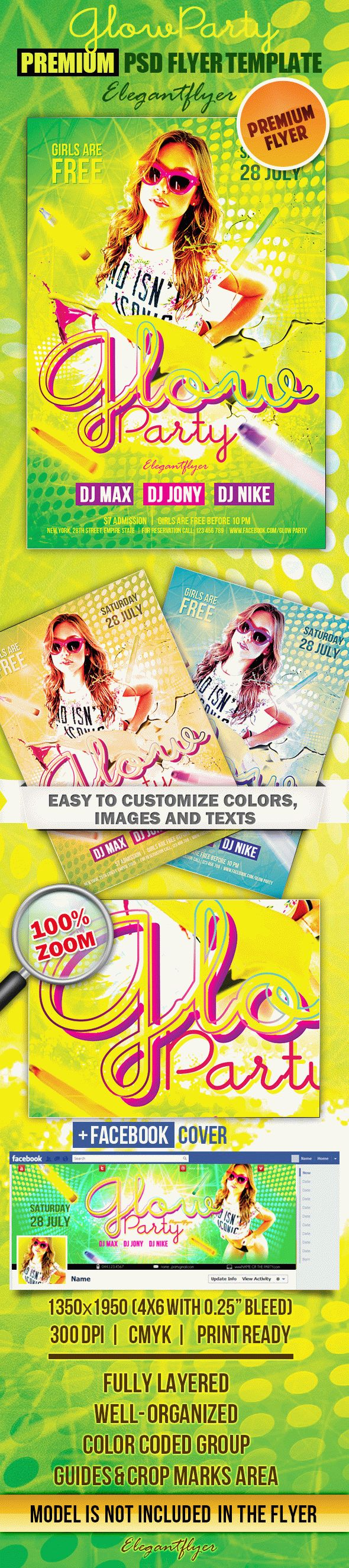 Glow Party 3 – Flyer PSD Template