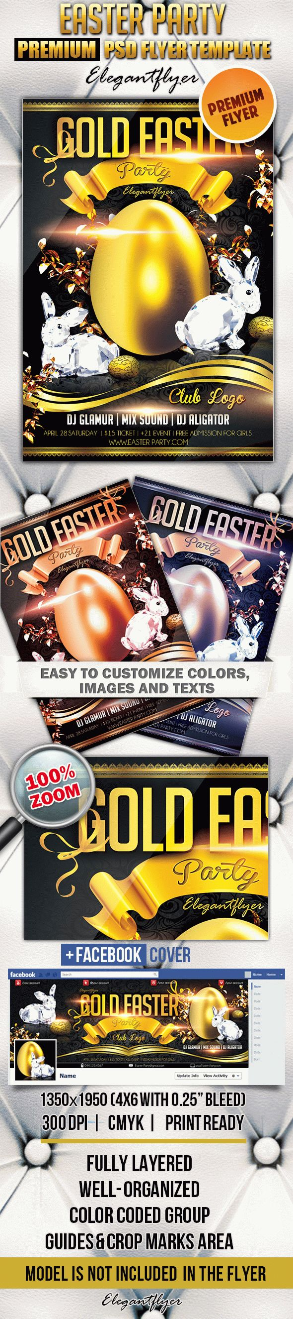 Gold Easter Party – Flyer PSD Template + Facebook Cover