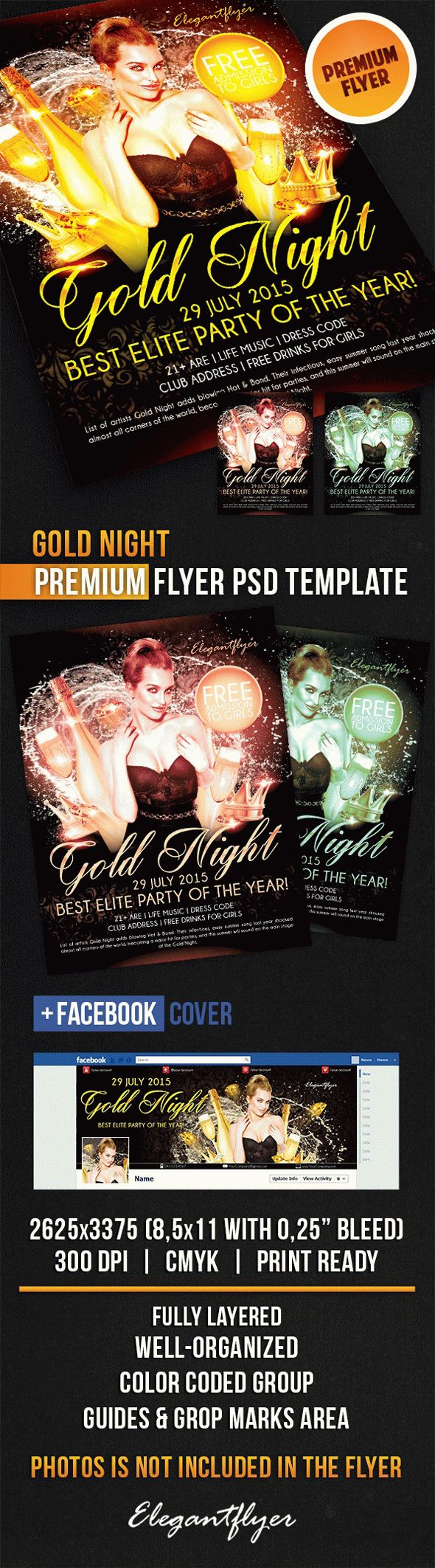 Gold Night – Flyer PSD Template + Facebook Cover
