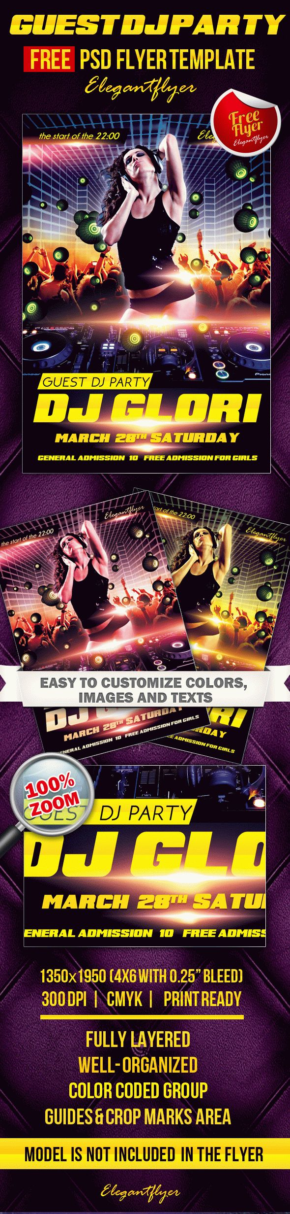 Guest Dj Party 3 – Club and Party Free Flyer PSD Template