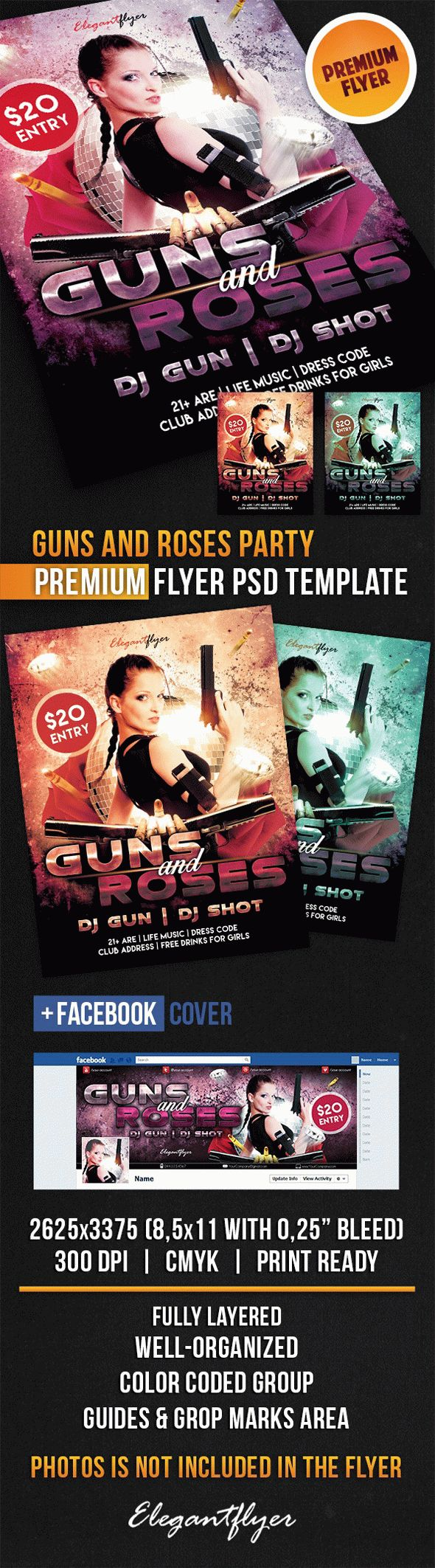 Guns And Roses Party – Flyer PSD Template