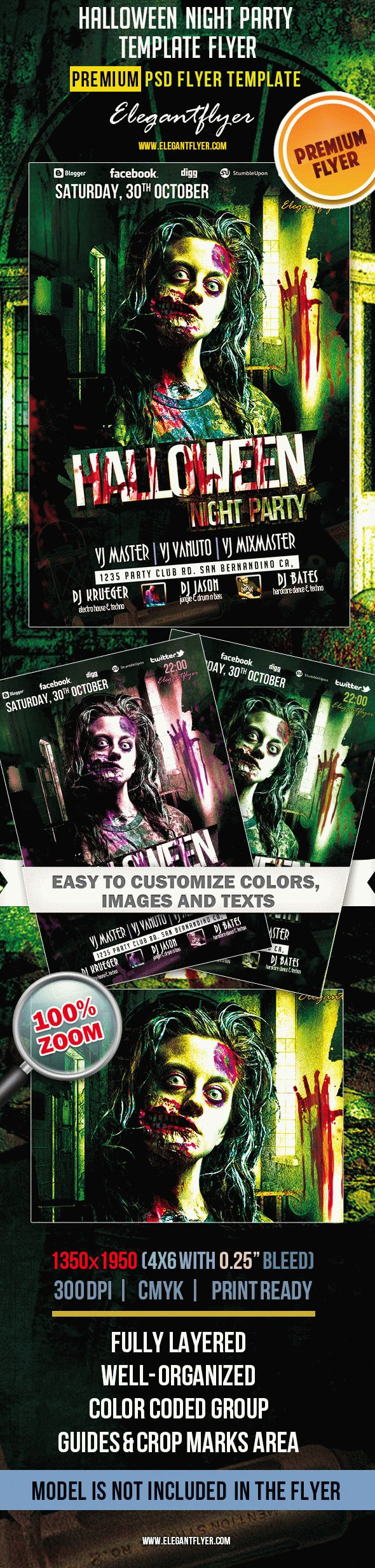 Halloween Night Party – Premium Club flyer PSD Template
