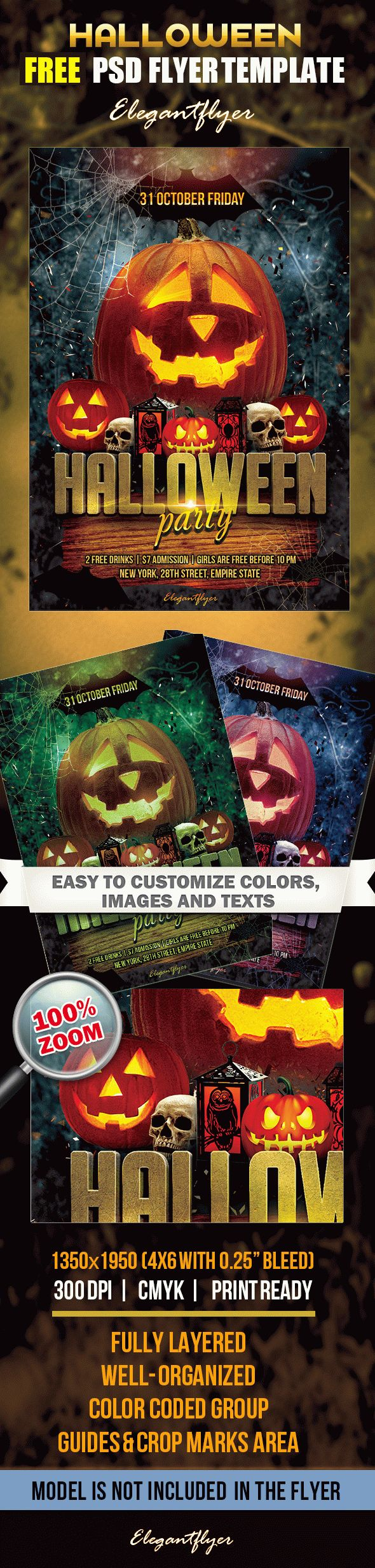 Halloween Party Free Flyer Psd Template By Elegantflyer