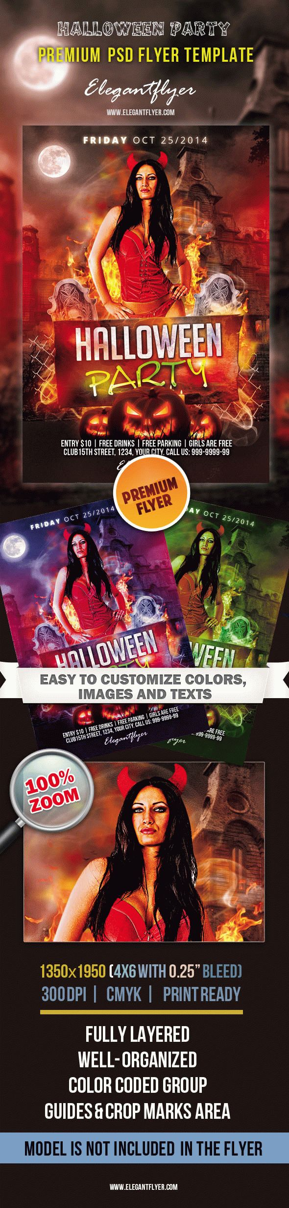 Halloween Party -Premium Club flyer PSD Template