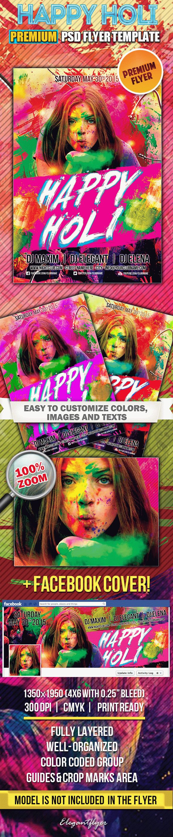 Happy Holi – Flyer PSD Template + Facebook Cover