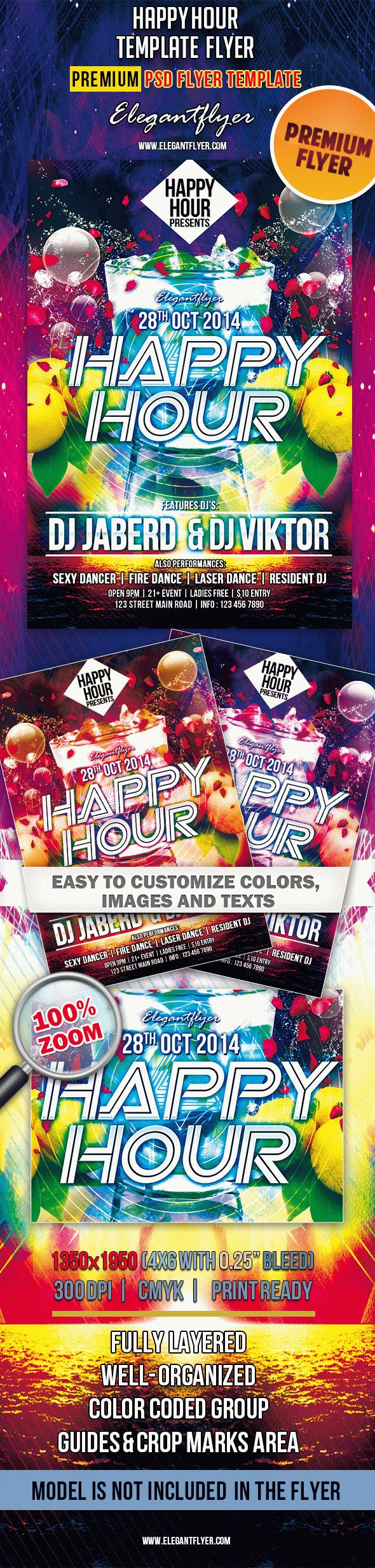 Happy Hour – Premium Club flyer PSD Template