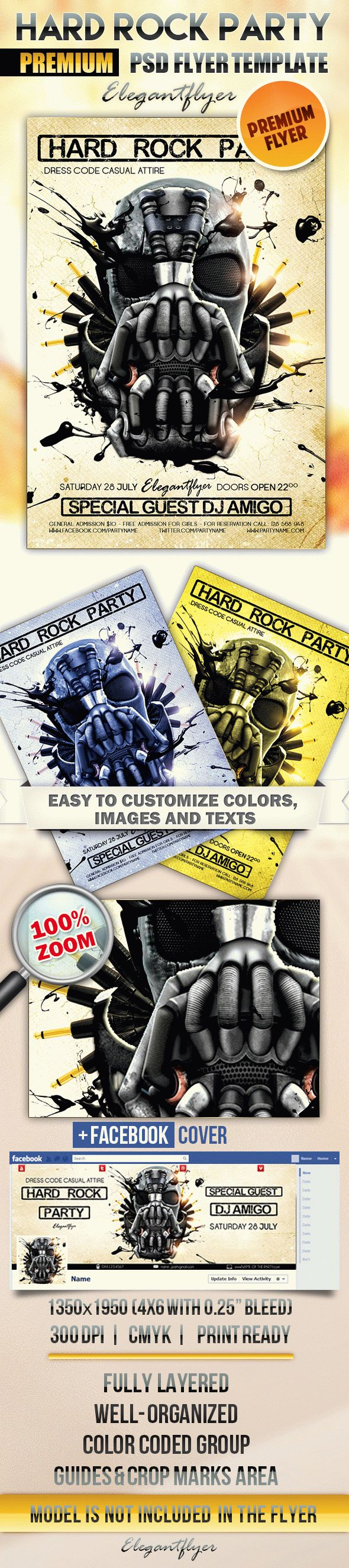 Hard Rock Party – Flyer PSD Template + Facebook Cover