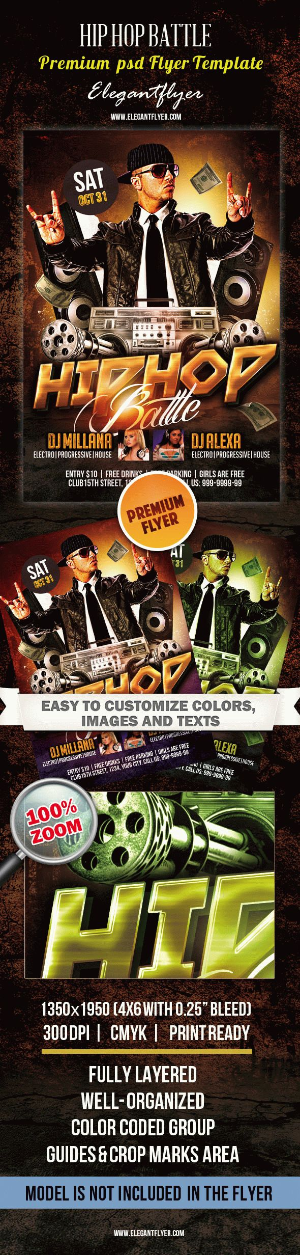 Hip Hop Battle – Club Flyer PSD Template