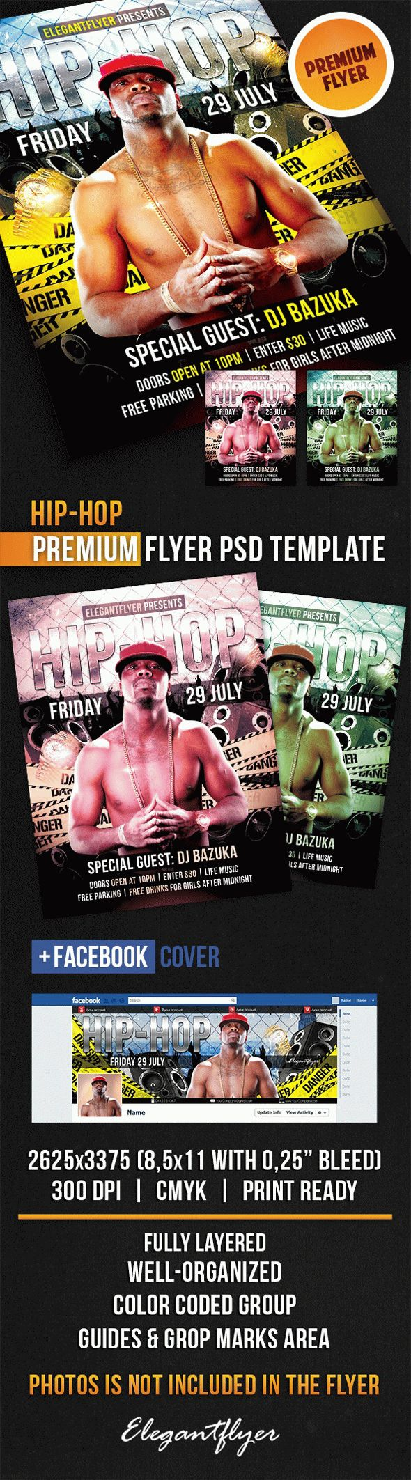 Hip-Hop Flyer – Flyer PSD Template + Facebook Cover