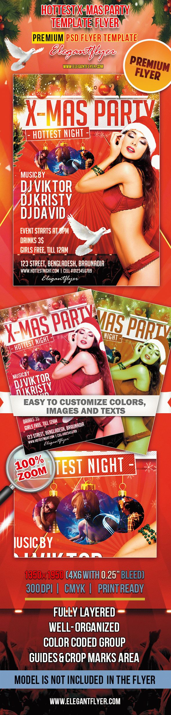 Hottest X-Mas Party – Premium Club flyer PSD Template
