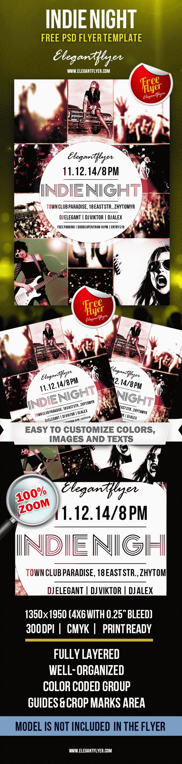 Indie Night – Free Club flyer PSD Template