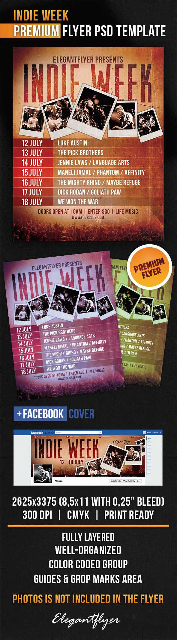 PSD Template For Indie Week