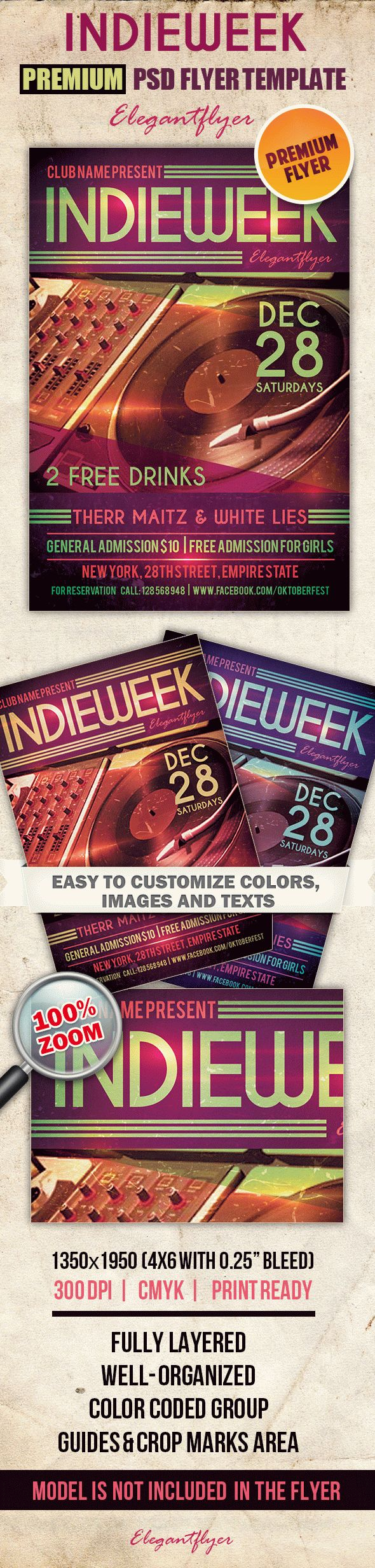 Indieweek – Premium Club flyer PSD Template