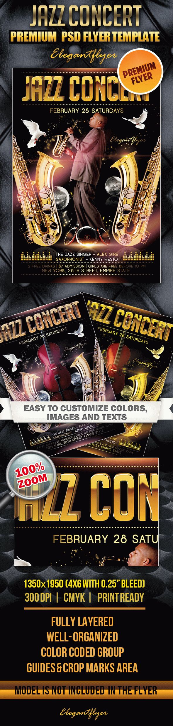 Jazz Concert – Premium Club flyer PSD Template
