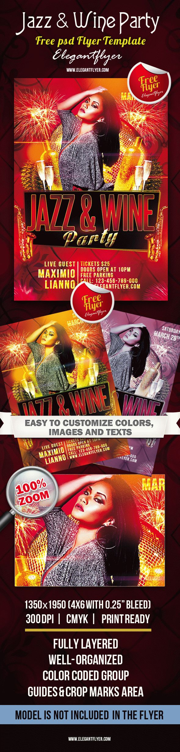 jazz wine party club and party flyer psd template by jazz wine party club and party flyer psd template