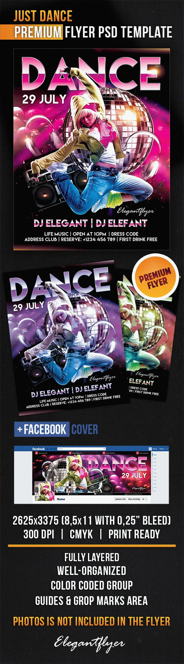 Just Dance – Flyer PSD Template + Facebook Cover