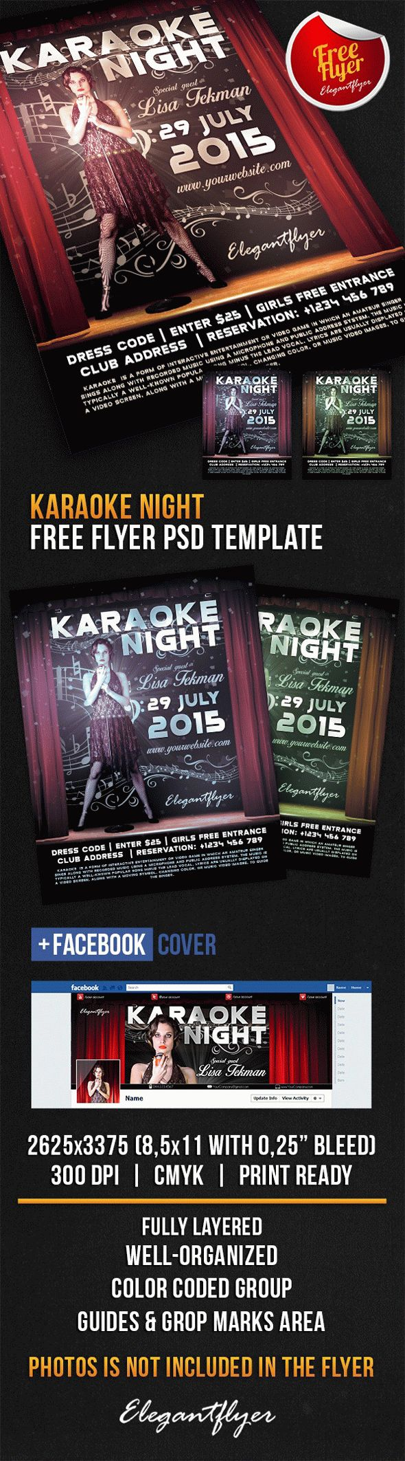 Karaoke Night – Free Flyer PSD Template + Facebook Cover