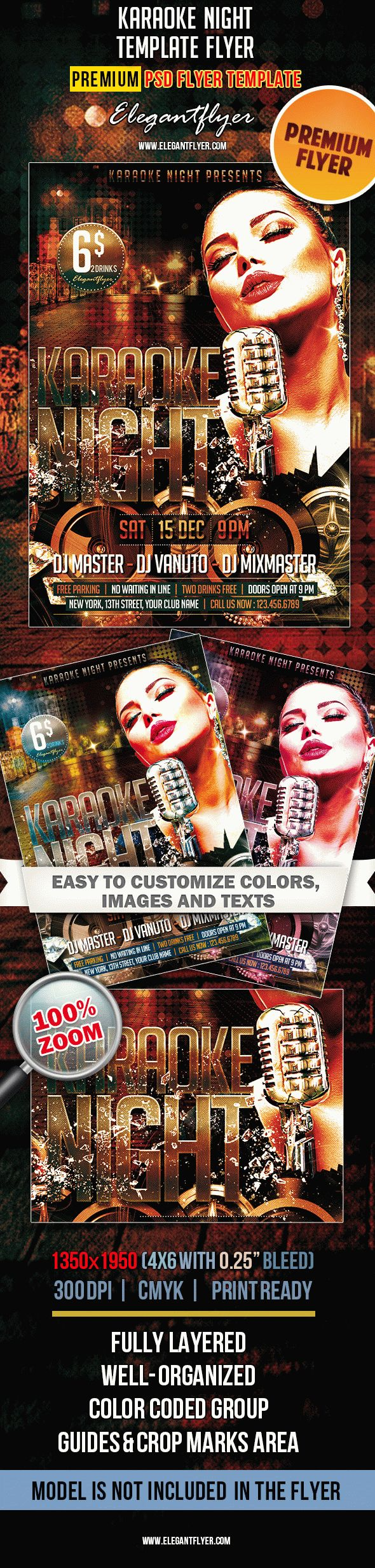 Karaoke Night – Premium Club flyer PSD Template