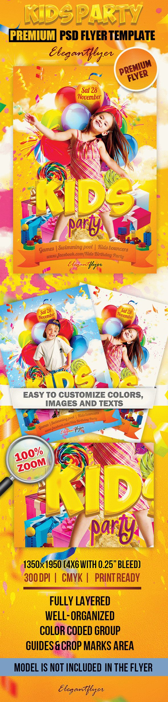 Kids Party – Premium Club flyer PSD Template